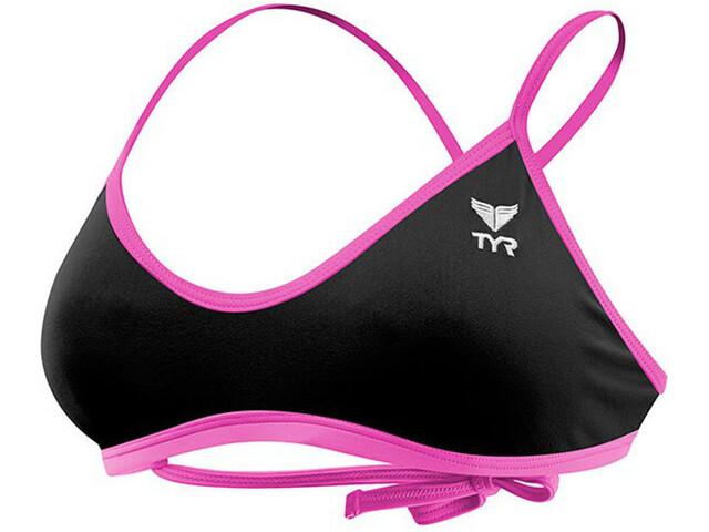 TYR Solid Crosscut Tieback Bikini Top Dame black/pink